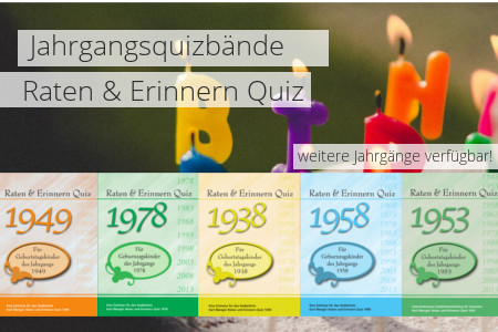 Auswahl der Jahrgangsquizbände - Raten & Erinnern Quiz
