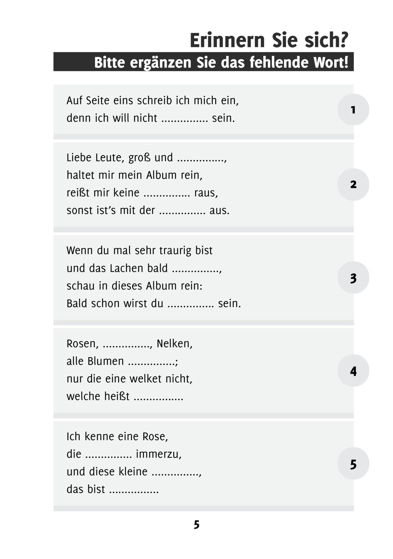 Erinnern Sie Sich Poesiealbum Sprüche Einfaches Gedächtnistraining Durch Wortergänzungen Band 5